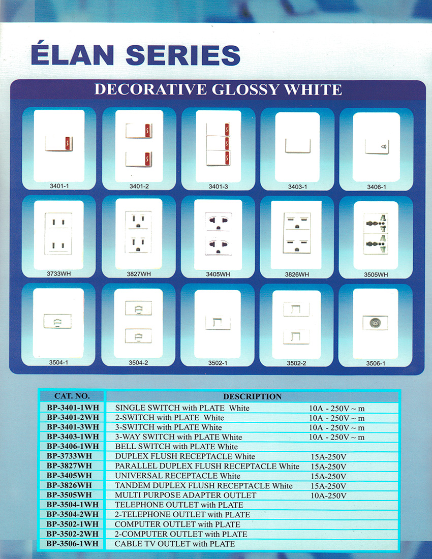 Elan Series - Decorative Glossy White